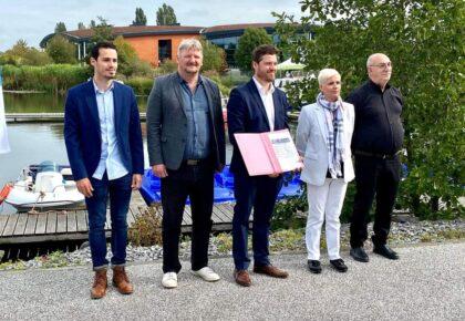 DOUAISIS : Signature de la charte pour la valorisation touristique de la Scarpe entre les VNT , le Parc naturel régional Scarpe Escaut, la CCCO, la CAPH et Douaisis Agglo.